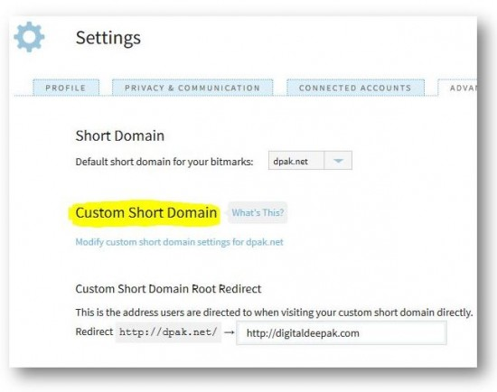 bitly custom domain