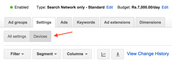device settings adwords