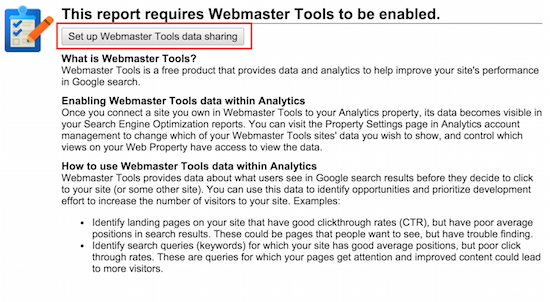 integrate webmaster tools and google analytics