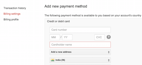 adwords credit card payment
