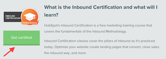 get inbound marketing certified