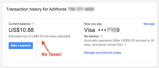 adwords no tax india