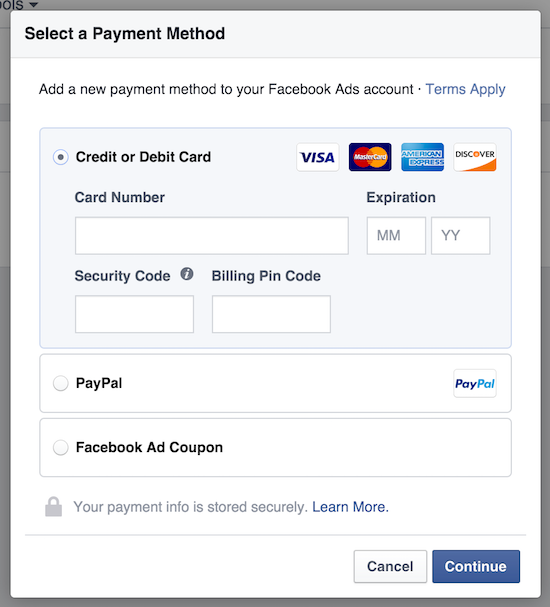 facebook payment options in india