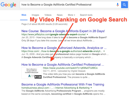video ranks on Google