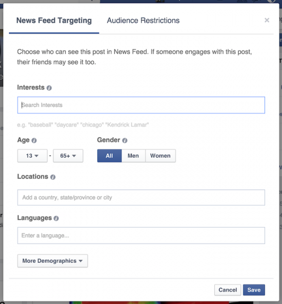 newsfeed targeting