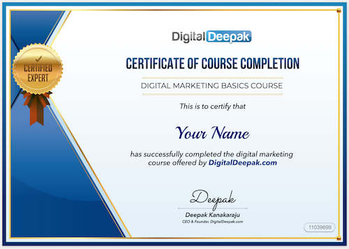 Get Your DigitalDeepak Course Certificate